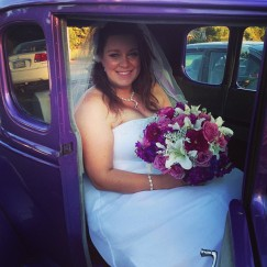The bride just before getting out of the purple hotrod!
