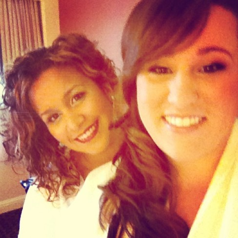 Tiffani (the other bridesmaid) and I at getting ready.