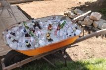 Wheel barrow of bottled drinks